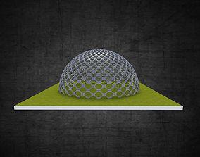 Dome hexagonal grid circular pattern large scale 3D asset
