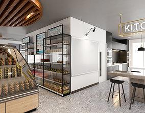 3D Full furniture of mini supermarket