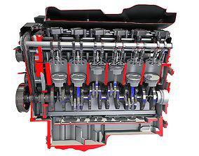 Animated Cutaway V12 Engine 3D model