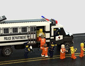 3D model Lego police convoy with prisoners