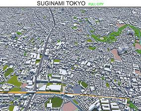 Suginami Tokyo 10km 3D asset low-poly
