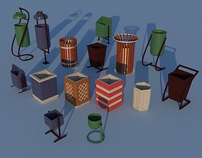 3D asset VR / AR ready Trashcans Collection