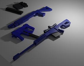 Low Poly Gun Set - Sniper - Pistol - SMG - 3D model 1