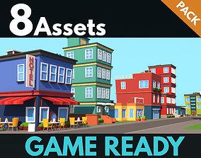 Cartoon Buildings 3D asset