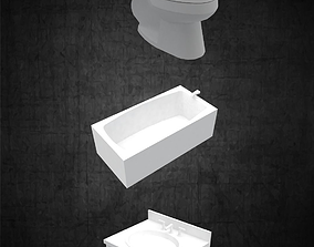 3D asset Toilet sink and tub pack simple for any 2