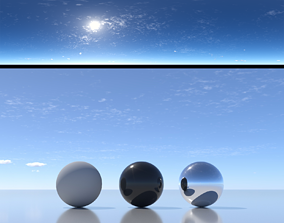 3D Skydome HDR - Sunny Noon Stratus Clouds Sky -