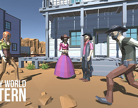 3D asset rigged LOW POLY WORLD - WESTERN