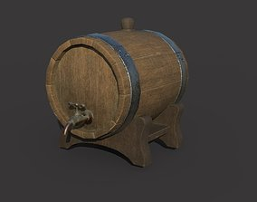 Wooden wine barrel with tap PBR Textures realtime 2