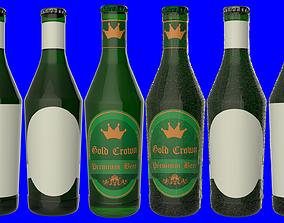 3D Beer Bottle with Beer and Condensation v04