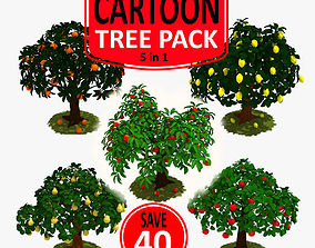 3D asset Cartoon Tree Pack