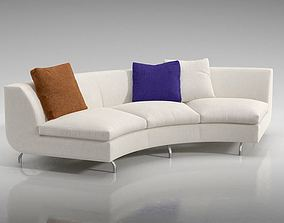 White Quarter Circle Couch With Pillows 3D model