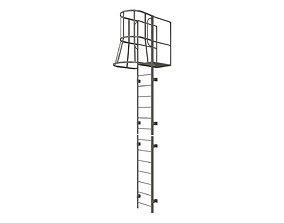 3D asset Fire escape stair Grey