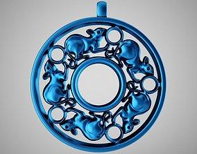 3D print model ring Mouse Pendant
