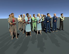 Low Poly Business people with Unity and UE4 21 3D model 1
