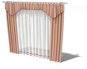 3D Peach Curtains With Pelmet