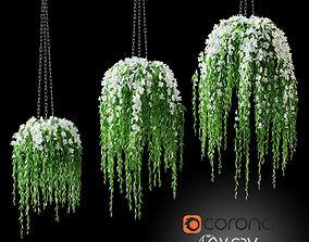 Flowers in a flower pot on a chain 3D model