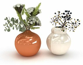 3D Two flower arrangements in white and orange ceramic