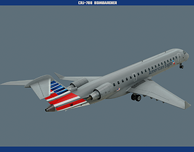 CRJ-700 American Eagle 3D model low-poly
