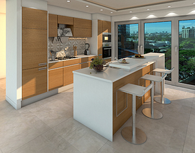 contemporary luxury 3d kitchen modal
