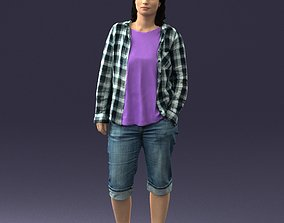 Girl in shorts and a plaid shirt 0266 3D Print Ready