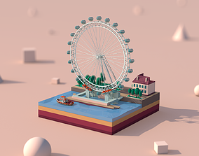 Cartoon Low Poly London Eye Landmark 3D asset