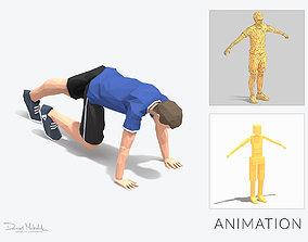 rock climber-pushups Exercise Man Animation 3D asset