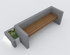Modern Bench Street and Garden 3 3D model