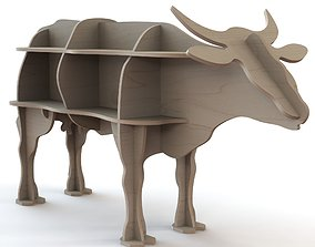 3D CNC Cutting pattern for wooden cow figure