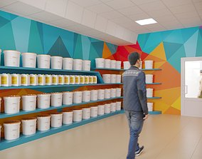 3D model Interior Paint Shop 01
