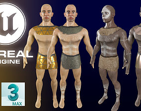 3D asset Neanderthal Warrior Low Poly Game Ready