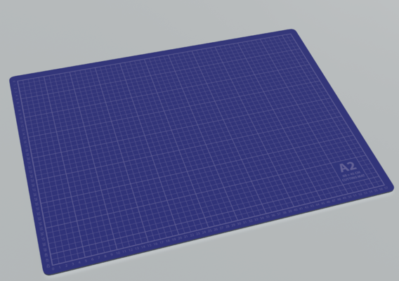 Cutting Mat A2 Blue 3D model
