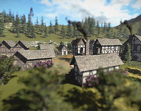 3D model 15 Medieval Buildings and 12 Props for AAA Games