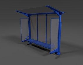 Bus Stop - Low Poly - PBR 3D asset