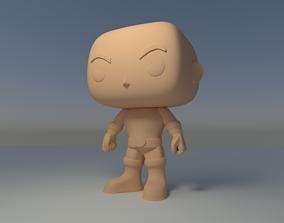 nohair Custom Pop Bald Man Angry Figure 3D Print