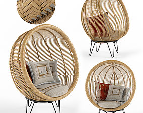 Round rattan cocoon chair 3D model