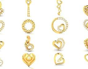 98 Heart Ring Earrings Pendant Necklace 3dm