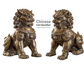 Chinese lion guardian sculpture lowpoly PBR 4 3D asset