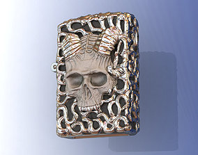 3D print model Zippo Silver Skull Lighter for Men
