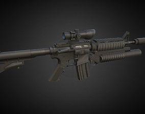 3D asset M4A1 Assault rifle M 203