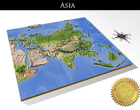 Asia High resolution 3D relief maps