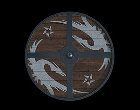 PBR medieval North styled shield 3D lowpoly model