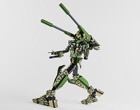 LONG RANGE GUNDAM GUNPLA 3D MODEL rigged