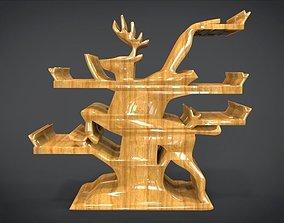 3D asset Shelf with deer ornaments