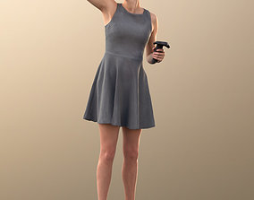 10012 Ina - Woman In Summer Dress With VR Headset And 3D