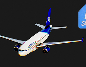 Airbus A320 AeroMexico Airplane 3D asset