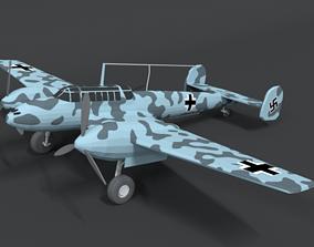 Low Poly Cartoon Messerschmitt Bf110 WWII 3D model