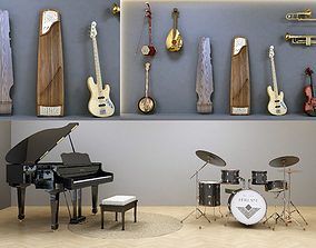3D model low-poly Musical Instruments