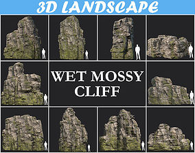 Low poly Wet Mossy Blocky Rock Cliff Pack 3D model