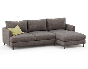 Corner sofa fabric with yellow pillow indoors 3D model