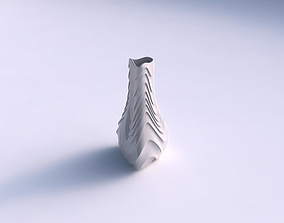 Vase puffy triangle with horizontal 3D printable model 2